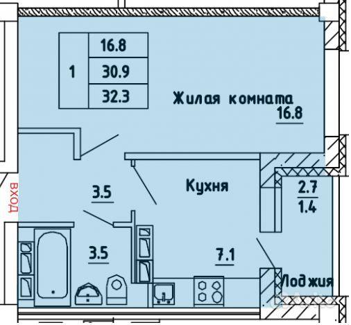 1-к квартира, 32.3 м², 12/17 эт.