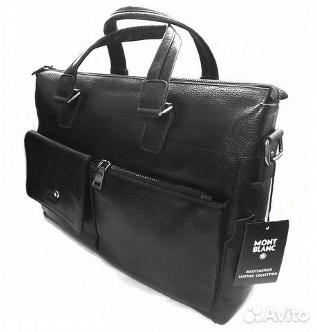 bc38a8126b50 Мужская кожаная сумка -montblanc- black А4 -15,6 купить в Москве на ...