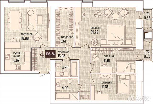 4-к квартира, 106.2 м², 10/11 эт.