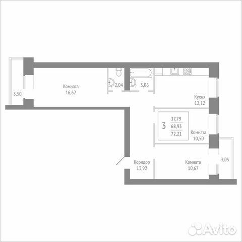 3-к квартира, 72.2 м², 6/14 эт. 89115506177 купить 1