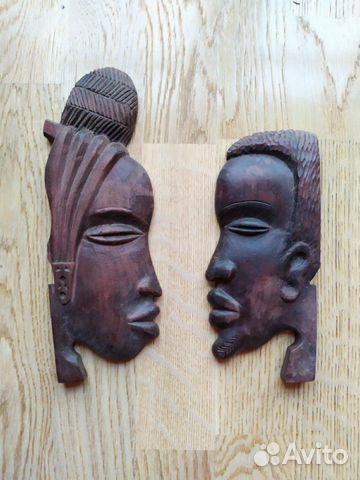 Маска из африканского дерева мужчина и женщина н