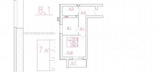1-к квартира, 39.4 м², 4/4 эт. в Ивановской области | Покупка и аренда квартир | Авито