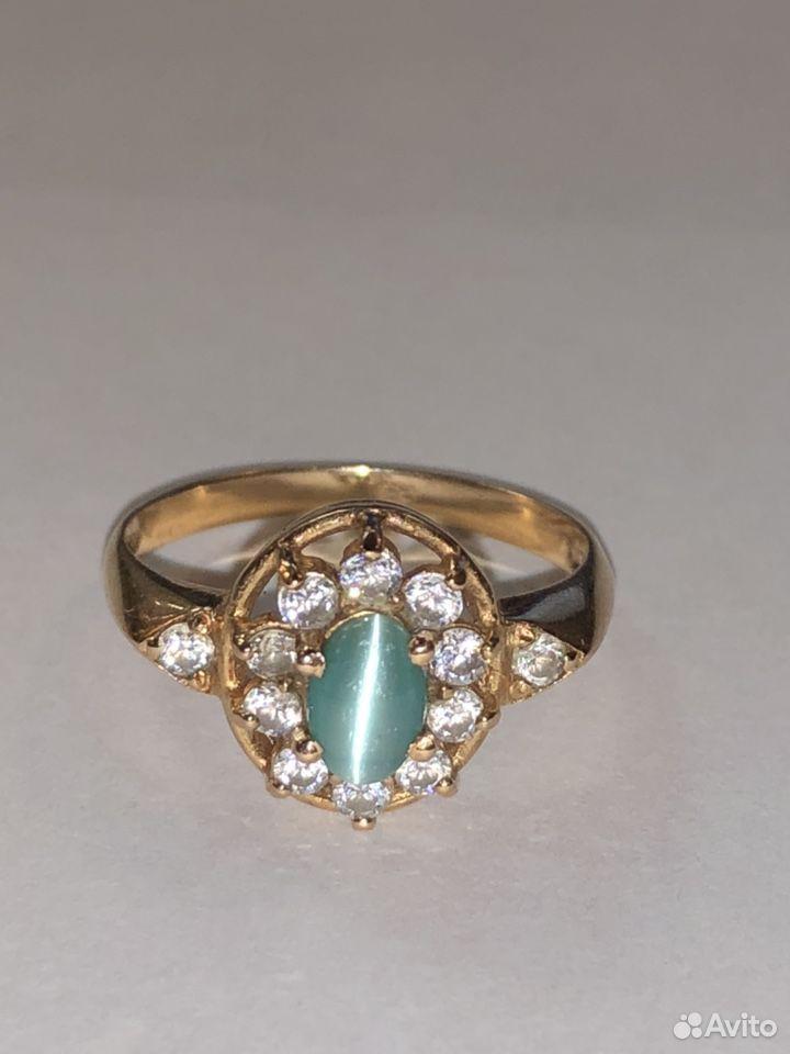 Золотое кольцо 585 с кабашоном и фианитами  89817050993 купить 2