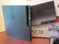 Прошитая Sony PS3 Slim 160Гб в упаковке + куча игр